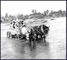 A person crossing the river with a horse and wagon.